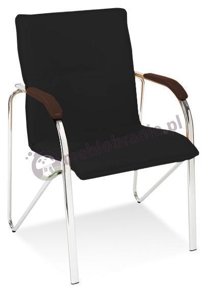 Samba krzesło do biura Czarne podłokietniki Wenge