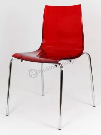 Krzesło przezroczyste czerwone KR010