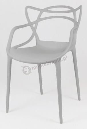 Krzesło plastikowe z podłokietnikami KR013 Szare