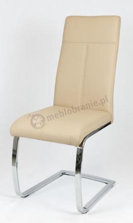 Krzesło Beżowe z Ekoskóry z Chromowanym Stelażem KS028