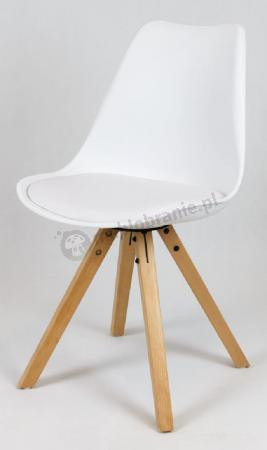 Krzesło KR020A białe na drewnianym stelażu