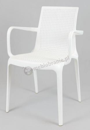 Białe krzesło KR031 z podłokietnikami