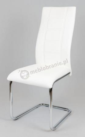Krzesło Białe z Ekoskóry na Chromowanym Stelażu KS029