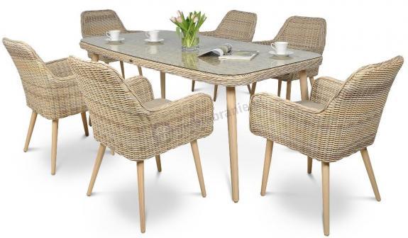 Zestaw ogrodowy stołowy Nicea 6+1 Beige