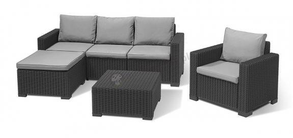Narożnik ogrodowy Moorea California 3 grafit sofa ogrodowa z pufą i fotelem