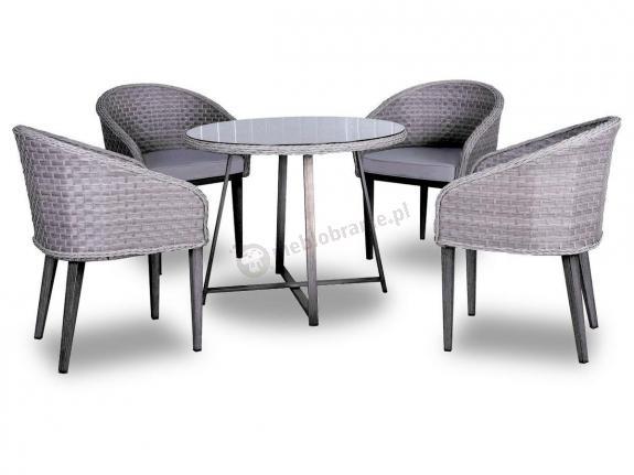 Elegancki zestaw stół okrągły z technorattanu Contito Set Melange Grigio & Taupe