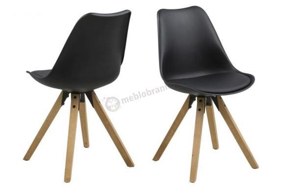 Actona Dima krzesło plastikowe z drewnianymi nogami czarne