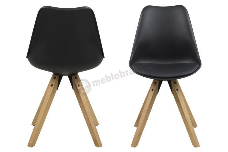 Actona Dima krzesło plastikowe z drewnianymi nogami - front krzesła