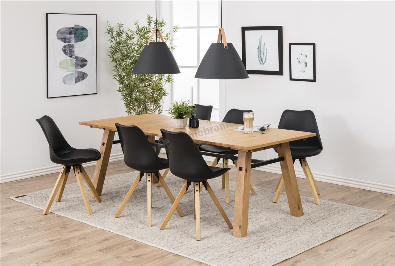 Actona Dima krzesło plastikowe z drewnianymi nogami w nowoczesnej aranżacji
