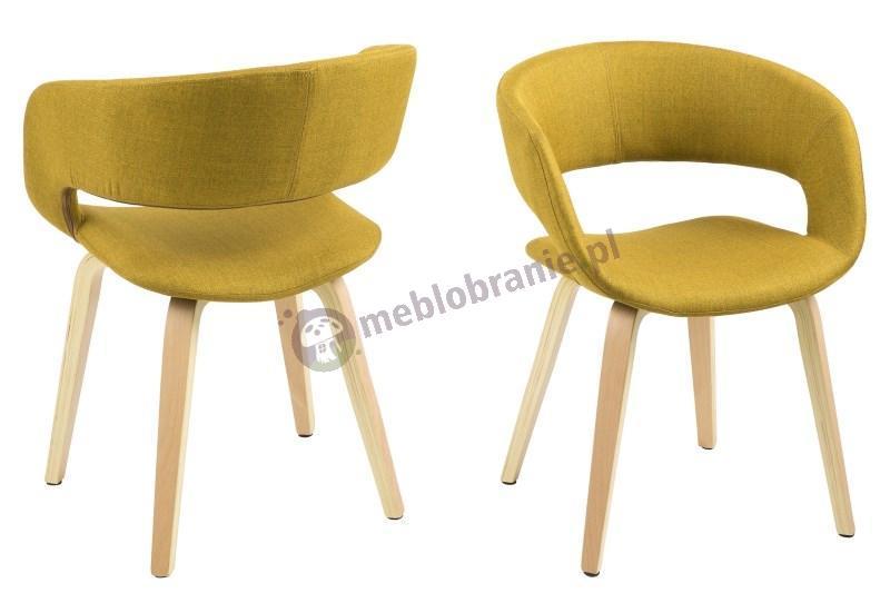 Actona Grace krzesło do jadalni żółte w odcieniu Curry