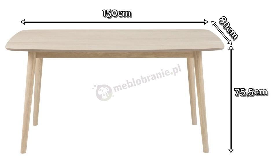 Actona Nagano stół dębowy bielony nowoczesny - wymiary