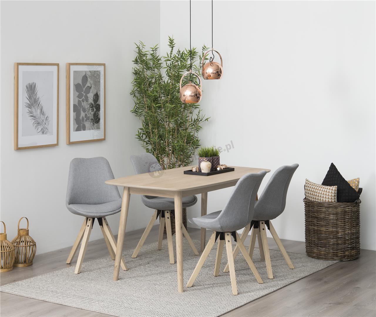 Actona Nagano stół dębowy bielony w aranżacji z krzesłami Dima