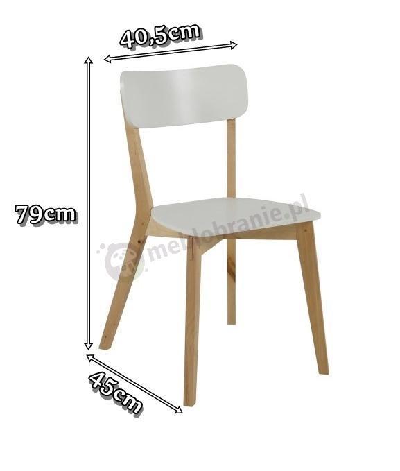 Actona Raven krzesło skandynawskie białe - wymiary