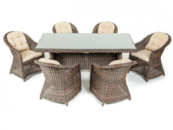 Zestaw mebli technorattan stołowy Vigo Marrone & Crema