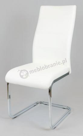 Białe Krzesło z Ekoskóry na Chromowanym Stelażu KS032