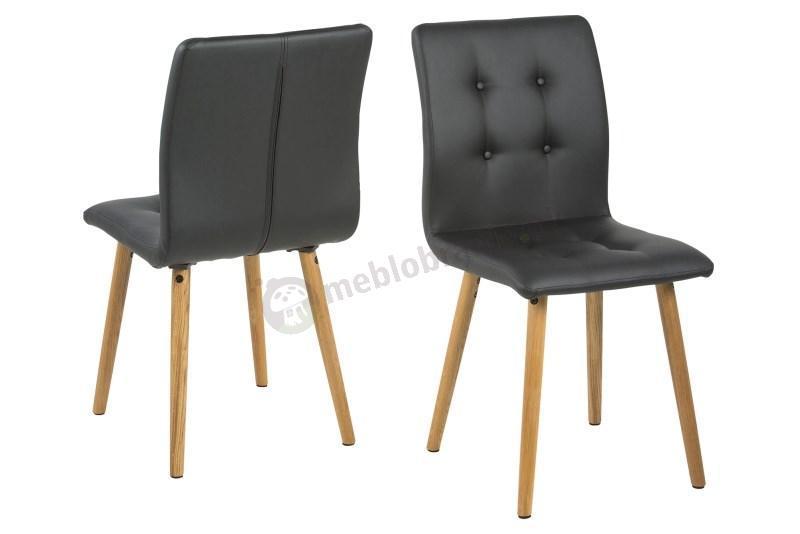 Actona Frida krzesło drewniane tapicerowane ekoskóra czarna