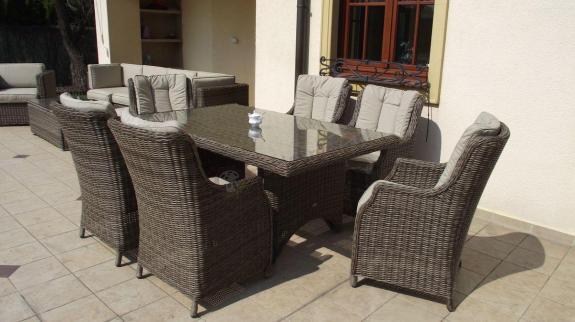 Komplet mebli stołowych do ogrodu technorattan Siena 6 brązowy mat