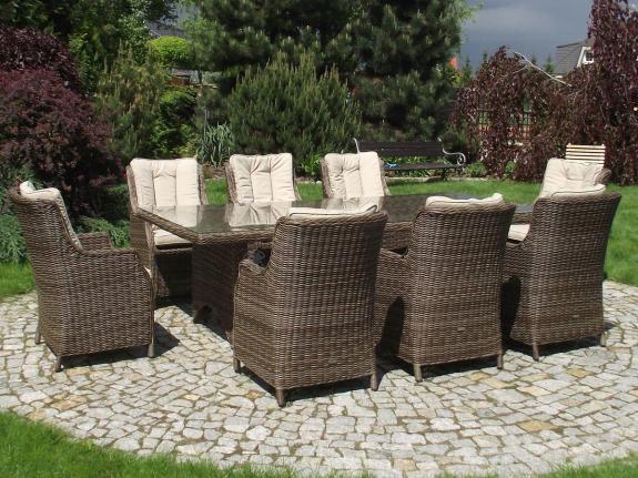 Komplet mebli ogrodowych stołowych technorattan Siena 8
