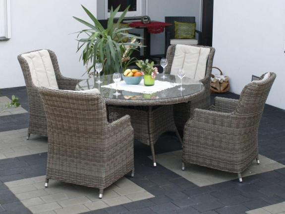 Meble ogrodowe z technorattanu z wysokim stołem Adria S4