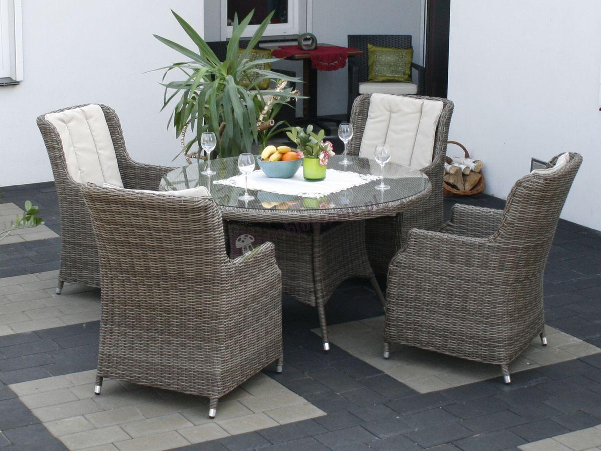 Meble ogrodowe z technorattanu z wysokim stołem Adria S4 brązowy mat