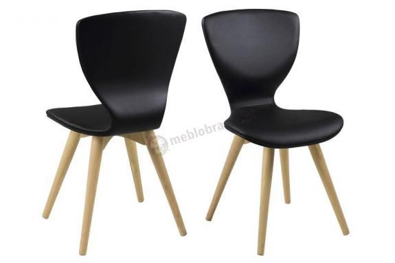 Actona Gongli krzesło tapicerowane z ekoskóry czarne