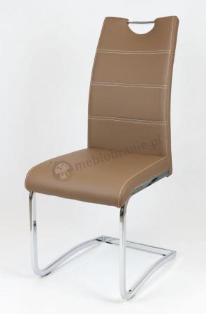 Brązowe krzesło z ekoskóry KS030