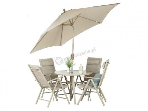Meble ogrodowe aluminiowe z parasolem dla 4 osób Tudor