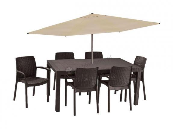Zestaw obiadowy z parasolem Melody 6B brązowy