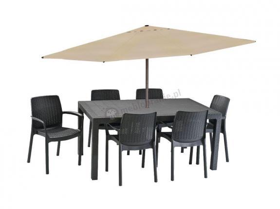 Meble dla 6 osób z dużym parasolem Melody 6B grafitowy
