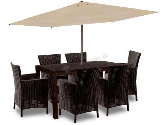 Meble ogrodowe z tworzywa z parasolem Melody 6Y brązowy