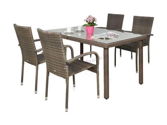 Meble technorattan 4 krzesła i stół Fiesta/Venecja Caffe