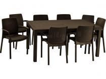 Duży funkcjonalny zestaw mebli obiadowych Melody 8B brązowy