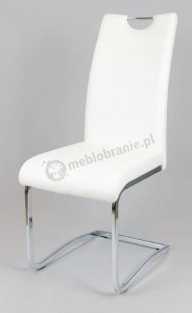 Krzesło KS030 Białe z Ekoskóry na Chromowanym Stelażu