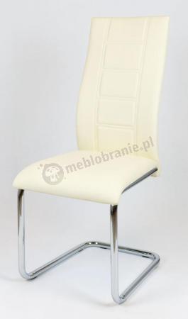 Krzesło Kremowe z Ekoskóry na Chromowanym Stelażu KS029