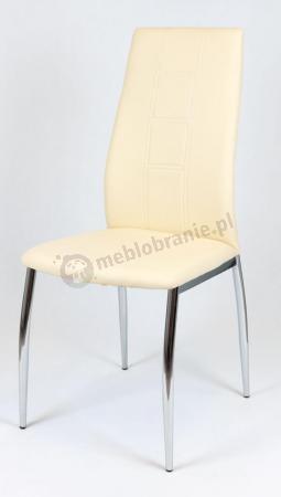 Kremowe Krzesło z Ekoskóry na Chromowanym Stelażu KS026