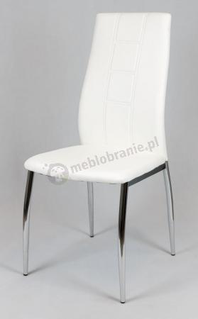 Białe Krzesło z Ekoskóry na Chromowanym Stelażu KS026