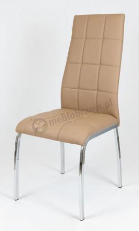 Brązowe Krzesło z Ekoskóry na Chromowanym Stelażu KS025