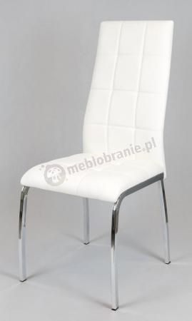 Krzesło tapicerowane ekoskórą białe KS025