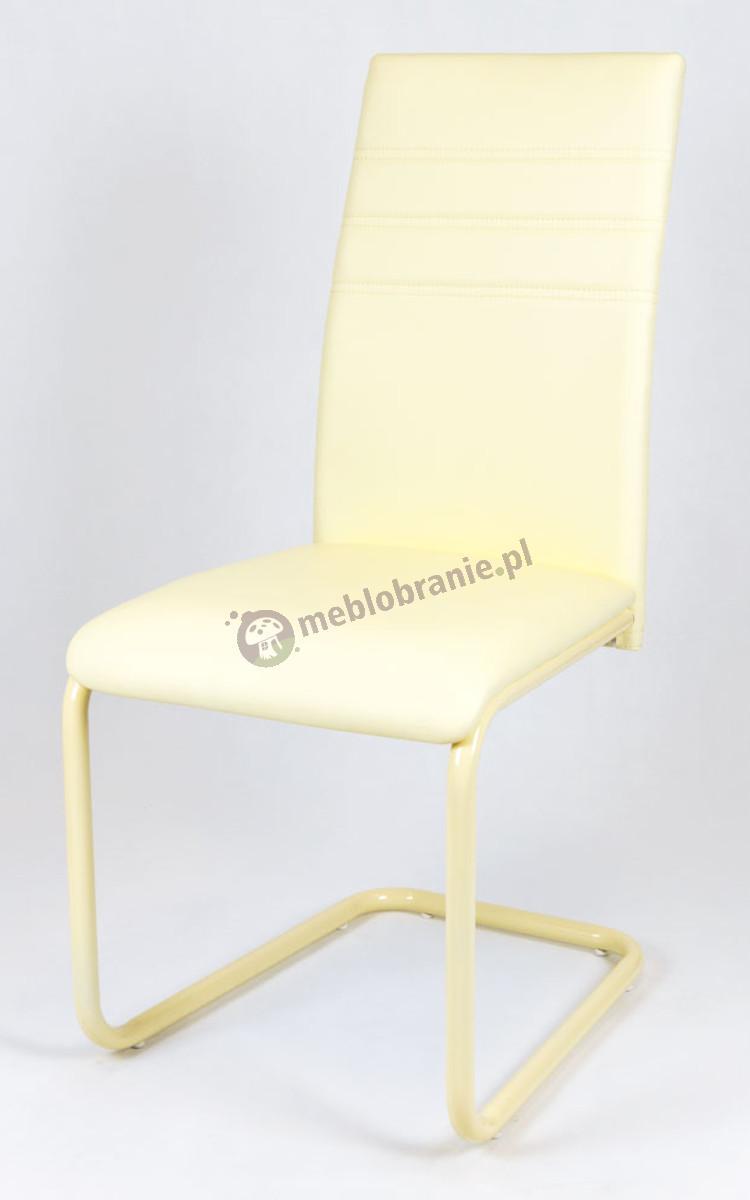 Krzesło Kremowe z Ekoskóry na Malowanym Stelażu KS024