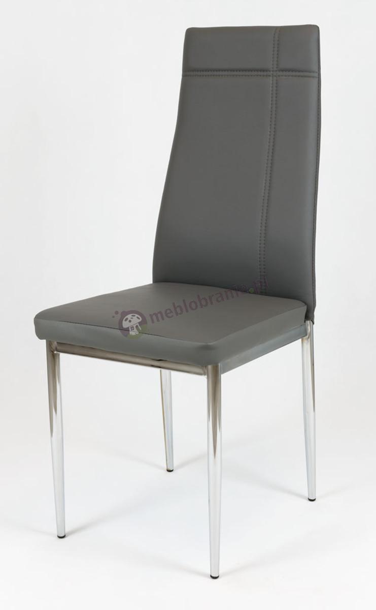 Szare Krzesło z Ekoskóry na Chromowanym Stelażu KS023