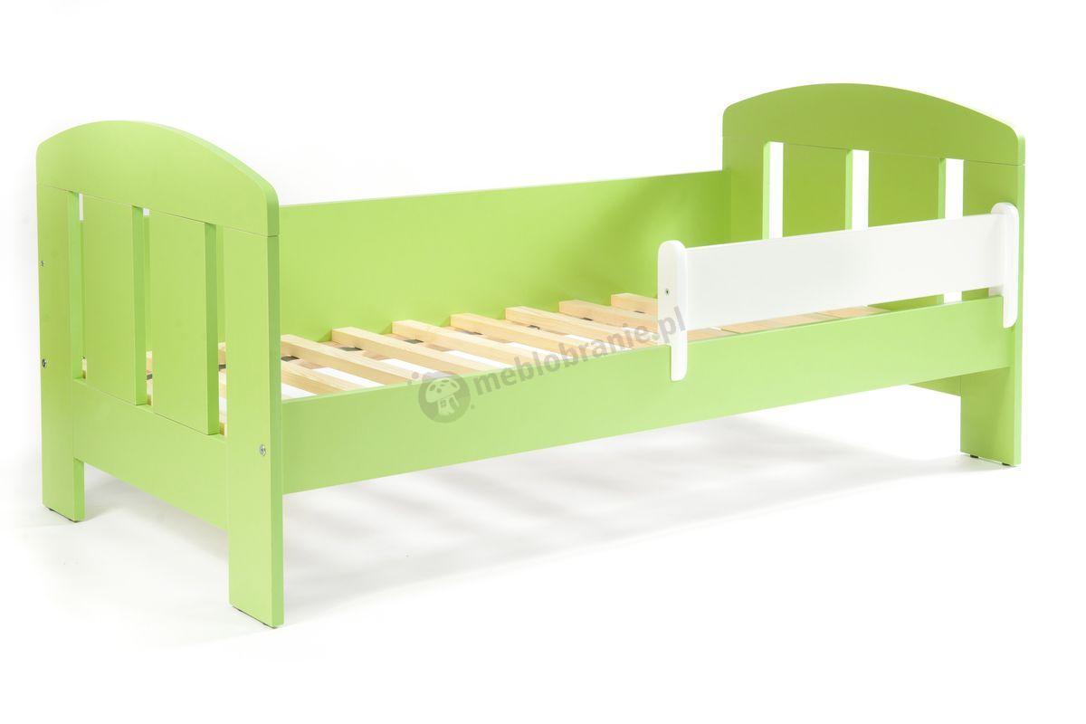 Łóżko z barierką w kolorze zielonym