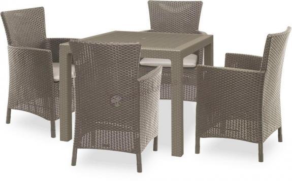 Meble ogrodowe dla 4 osób z kwadratowym stołem Melody Quartet 4Y Cappuccino