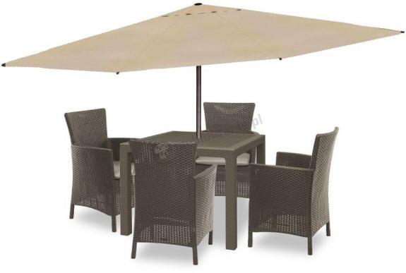 Meble ogrodowe kwadratowy stół z parasolem Melody Quartet 4Y Cappuccino