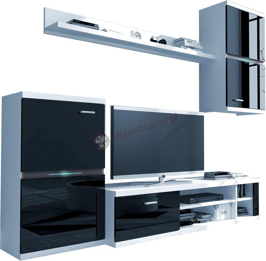 Meble RTV do salonu Intel Meblościanka Biały/Czarny Połysk 210x175