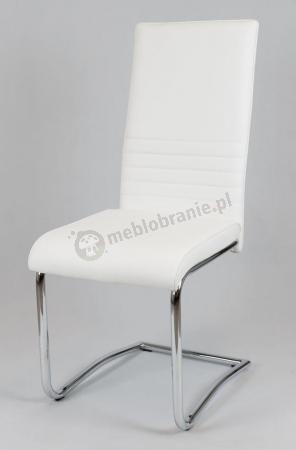KS022 Krzesło białe tapicerowane ekoskórą