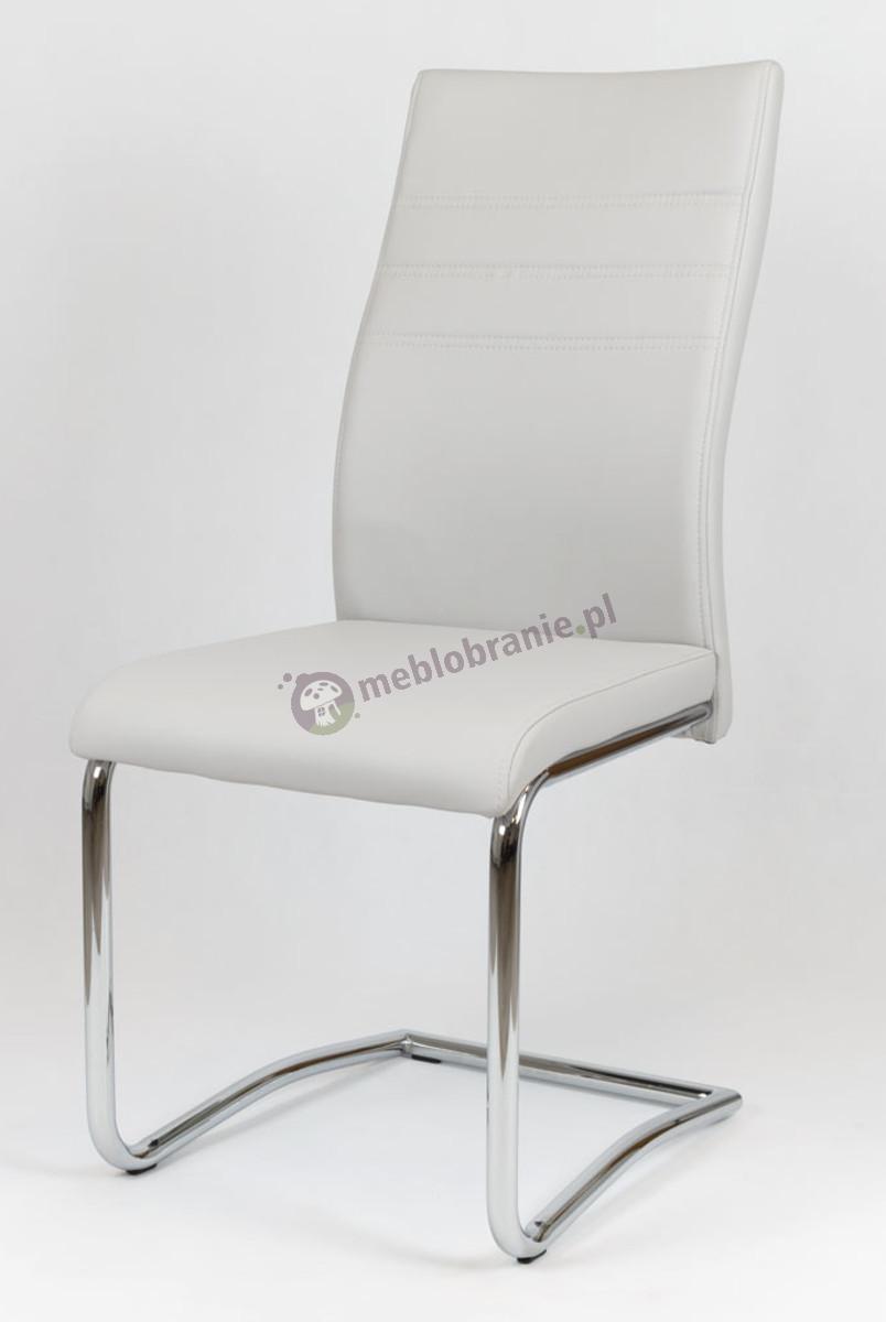 Jasnoszare Krzesło z Ekoskóry na Chromowanym Stelażu KS021