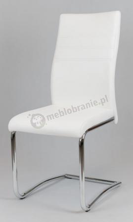 Krzesło tapicerowane ekoskórą białe KS021