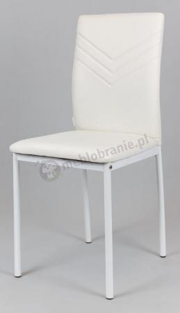 Białe krzesło na białych metalowych nogach KS018