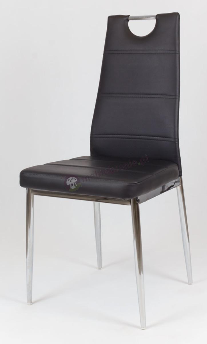Czarne Krzesło z Ekoskóry na Chromowanym Stelażu KS017