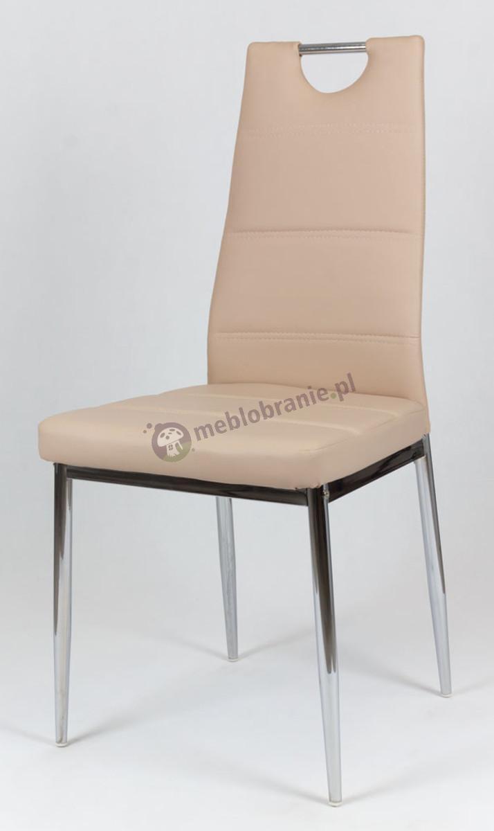 Beżowe Krzesło z Ekoskóry na Chromowanym Stelażu KS017
